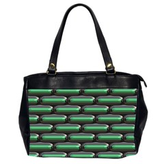 Green 3d Rectangles Pattern Oversize Office Handbag (2 Sides) by LalyLauraFLM
