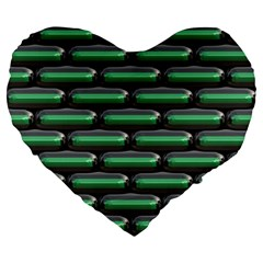 Green 3d Rectangles Pattern Large 19  Premium Heart Shape Cushion by LalyLauraFLM