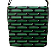 Green 3d Rectangles Pattern Flap Closure Messenger Bag (l) by LalyLauraFLM