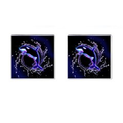 Orca With Glowing Line Jumping Out Of A Circle Mad Of Water Cufflinks (Square) by FantasyWorld7