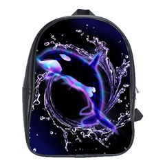 Orca With Glowing Line Jumping Out Of A Circle Mad Of Water School Bags(large)  by FantasyWorld7