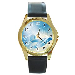 Music Round Gold Metal Watches by FantasyWorld7