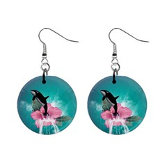 Orca Jumping Out Of A Flower With Waterfalls Mini Button Earrings