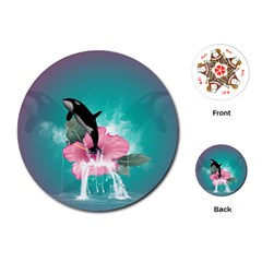 Orca Jumping Out Of A Flower With Waterfalls Playing Cards (round)  by FantasyWorld7