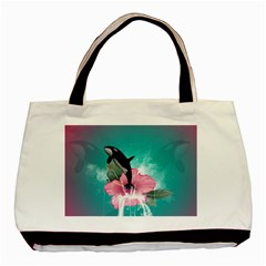 Orca Jumping Out Of A Flower With Waterfalls Basic Tote Bag  by FantasyWorld7