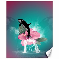 Orca Jumping Out Of A Flower With Waterfalls Canvas 11  x 14   by FantasyWorld7