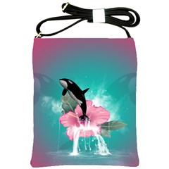 Orca Jumping Out Of A Flower With Waterfalls Shoulder Sling Bags by FantasyWorld7