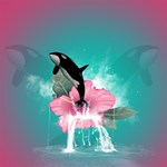 Orca Jumping Out Of A Flower With Waterfalls YOU ARE INVITED 3D Greeting Card (8x4)  Inside