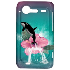 Orca Jumping Out Of A Flower With Waterfalls HTC Incredible S Hardshell Case  by FantasyWorld7