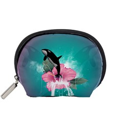 Orca Jumping Out Of A Flower With Waterfalls Accessory Pouches (small)  by FantasyWorld7
