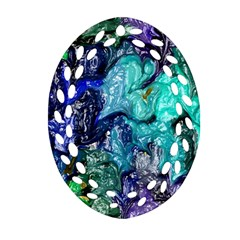 Strange Abstract 1 Oval Filigree Ornament (2 Side)  by MoreColorsinLife