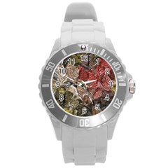 Strange Abstract 5 Round Plastic Sport Watch (l) by MoreColorsinLife