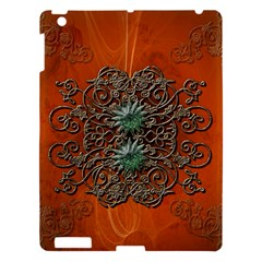Wonderful Floral Elements On Soft Red Background Apple Ipad 3/4 Hardshell Case by FantasyWorld7