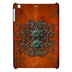 Wonderful Floral Elements On Soft Red Background Apple Ipad Mini Hardshell Case by FantasyWorld7