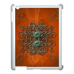 Wonderful Floral Elements On Soft Red Background Apple Ipad 3/4 Case (white) by FantasyWorld7
