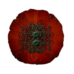 Wonderful Floral Elements On Soft Red Background Standard 15  Premium Flano Round Cushions by FantasyWorld7