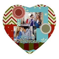 Xmas By Joy   Heart Ornament (two Sides)   1fkcdbe1ih0q   Www Artscow Com Front