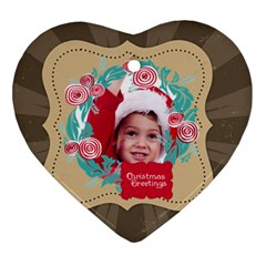 Xmas By Joy   Heart Ornament (two Sides)   3e7uoejuvp9x   Www Artscow Com Front