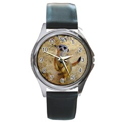 Lovely Meerkat 515p Round Metal Watches by ImpressiveMoments