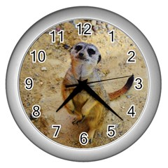 Lovely Meerkat 515p Wall Clocks (silver)  by ImpressiveMoments