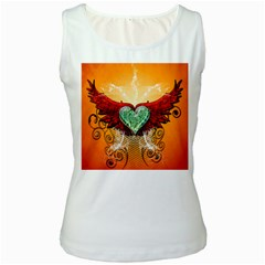 Beautiful Heart Made Of Diamond With Wings And Floral Elements Women s Tank Tops by FantasyWorld7