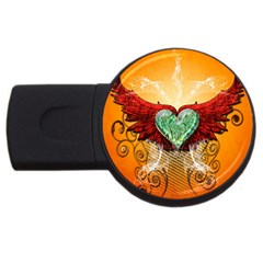 Beautiful Heart Made Of Diamond With Wings And Floral Elements Usb Flash Drive Round (4 Gb)  by FantasyWorld7