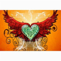 Beautiful Heart Made Of Diamond With Wings And Floral Elements Collage 12  x 18  by FantasyWorld7