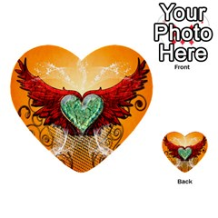 Beautiful Heart Made Of Diamond With Wings And Floral Elements Multi Purpose Cards (heart)  by FantasyWorld7