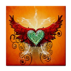 Beautiful Heart Made Of Diamond With Wings And Floral Elements Face Towel by FantasyWorld7