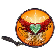 Beautiful Heart Made Of Diamond With Wings And Floral Elements Classic 20 Cd Wallets by FantasyWorld7