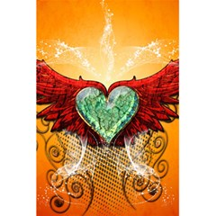 Beautiful Heart Made Of Diamond With Wings And Floral Elements 5 5  X 8 5  Notebooks by FantasyWorld7