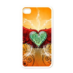 Beautiful Heart Made Of Diamond With Wings And Floral Elements Apple Iphone 4 Case (white) by FantasyWorld7
