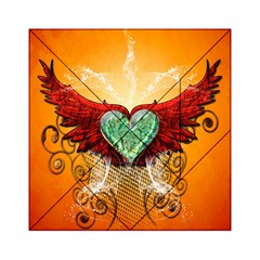 Beautiful Heart Made Of Diamond With Wings And Floral Elements Acrylic Tangram Puzzle (6  X 6 ) by FantasyWorld7