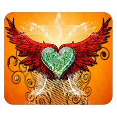 Beautiful Heart Made Of Diamond With Wings And Floral Elements Double Sided Flano Blanket (small)  by FantasyWorld7