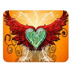 Beautiful Heart Made Of Diamond With Wings And Floral Elements Double Sided Flano Blanket (large)  by FantasyWorld7