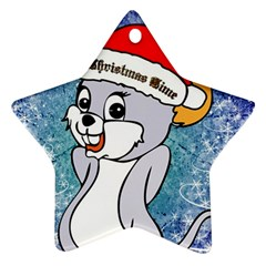 Funny Cute Christmas Mouse With Christmas Tree And Snowflakses Ornament (star)  by FantasyWorld7