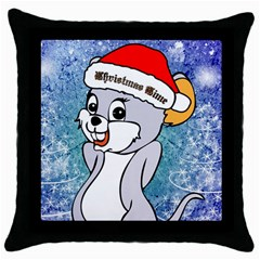 Funny Cute Christmas Mouse With Christmas Tree And Snowflakses Throw Pillow Cases (black) by FantasyWorld7
