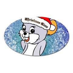 Funny Cute Christmas Mouse With Christmas Tree And Snowflakses Oval Magnet by FantasyWorld7