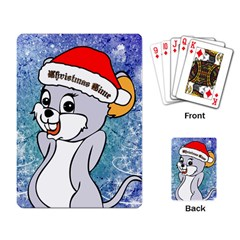 Funny Cute Christmas Mouse With Christmas Tree And Snowflakses Playing Card by FantasyWorld7
