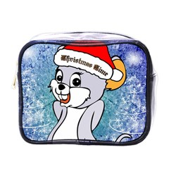 Funny Cute Christmas Mouse With Christmas Tree And Snowflakses Mini Toiletries Bags by FantasyWorld7