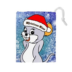 Funny Cute Christmas Mouse With Christmas Tree And Snowflakses Drawstring Pouches (large)  by FantasyWorld7