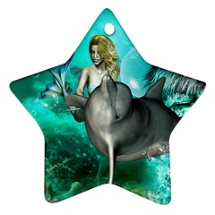 Beautiful Mermaid With  Dolphin With Bubbles And Water Splash Ornament (star)  by FantasyWorld7