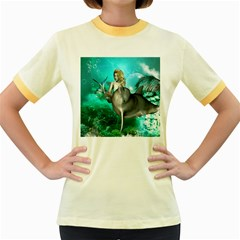 Beautiful Mermaid With  Dolphin With Bubbles And Water Splash Women s Fitted Ringer T Shirts by FantasyWorld7