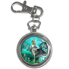 Beautiful Mermaid With  Dolphin With Bubbles And Water Splash Key Chain Watches by FantasyWorld7