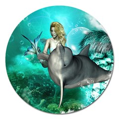 Beautiful Mermaid With  Dolphin With Bubbles And Water Splash Magnet 5  (round) by FantasyWorld7