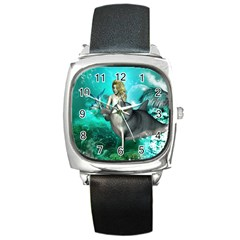 Beautiful Mermaid With  Dolphin With Bubbles And Water Splash Square Metal Watches by FantasyWorld7
