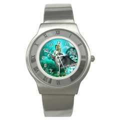 Beautiful Mermaid With  Dolphin With Bubbles And Water Splash Stainless Steel Watches by FantasyWorld7