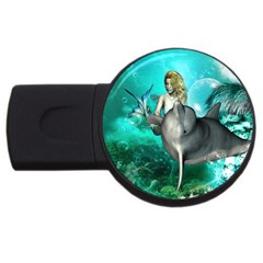 Beautiful Mermaid With  Dolphin With Bubbles And Water Splash Usb Flash Drive Round (4 Gb)  by FantasyWorld7
