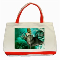 Beautiful Mermaid With  Dolphin With Bubbles And Water Splash Classic Tote Bag (red)  by FantasyWorld7
