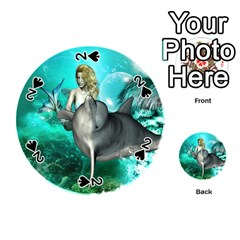 Beautiful Mermaid With  Dolphin With Bubbles And Water Splash Playing Cards 54 (round)  by FantasyWorld7